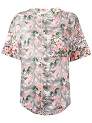 Julien David Floral Print Shirt Women Silk Cotton S Pink