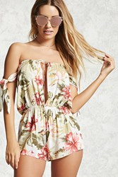 Forever 21 Floral Cover Up Romper Ivory Multi