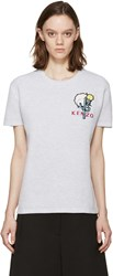 Kenzo Grey Waffle Cotton Embroidered T Shirt