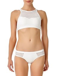 Anne Cole Crochet High Neck Bikini Top White