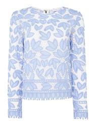 Endless Rose Long Sleeve Lace Top Pale Blue