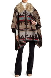 Angie Faux Fur Collar Poncho Brown