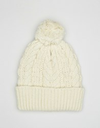 Asos Wool Mix Bobble Beanie In Ecru Ecru Beige