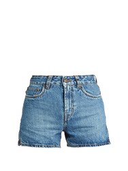 Rockins High Rise Hem Slit Denim Shorts Mid Blue