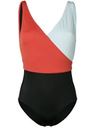 Solid And Striped Colour Block Swimsuit Orange