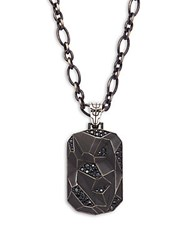 John Hardy Black Sapphire And Silver Dog Tag Pendant Necklace