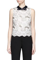Alice Olivia 'Manie' Satin Collar Embellished Floral Lace Top White
