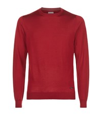 Armani Collezioni Crew Neck Long Sleeved Jumper Male Red