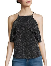 Design Lab Lord And Taylor Cold Shoulder Glitter Top Black Silver