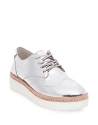 Steve Madden Pharo Crocodile Oxfords Silver