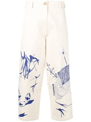 Marios Printed Cropped Trousers Neutrals