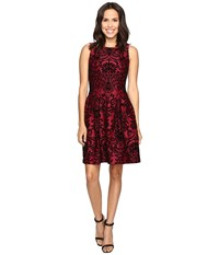 Rsvp Martina Pleated Fit And Flare Flocked Dress Merlot Black Women's Dress