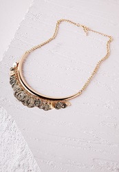 Missguided Coin Detail Bib Necklace Gold