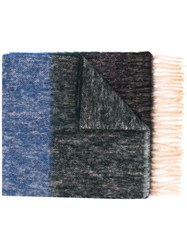 Paul Smith Ps By Long Fringe Scarf Blue