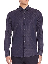 Sand Floral Cotton And Wool Sportshirt Navy