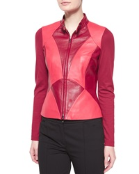 Escada Art Nouveau Leather Combo Jacket Dark Tivoli