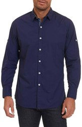 Robert Graham Men's Tails Classic Fit Sport Shirt Dark Blue