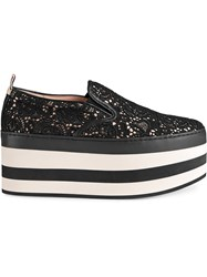 Gucci Lace Platform Sneakers Leather Polyamide Satin Rubber Black
