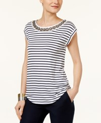 Cable And Gauge Cupio By Embellished Striped Blouse White Navy Stripe