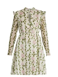 Giambattista Valli Floral Print Long Sleeved Silk Chiffon Dress Green White