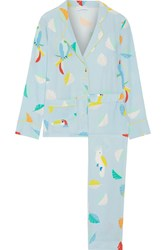 Mira Mikati Printed Silk Crepe De Chine Shirt And Pants Set Sky Blue