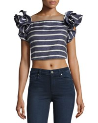 Johanna Ortiz Striped Ruffle Sleeve Crop Top Navy