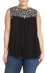 Plus Size Women's Lucky Brand Back Cutout Embroidered Shell