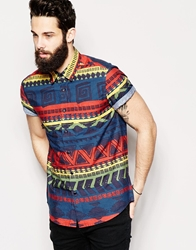 Asos Shirt In Short Sleeve With Aztec Festival Print Burgundy