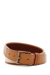 Cole Haan Flat Canvas And Leather Belt Beige