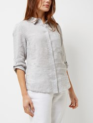 Jaeger Linen Roll Sleeve Shirt Grey Melange