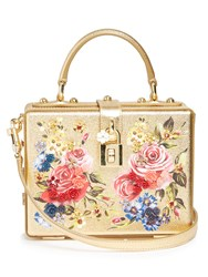 Dolce And Gabbana Soft Rose Print Leather Box Bag Gold Multi