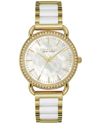 Caravelle New York By Bulova Women's White Ceramic And Gold Tone Stainless Steel Bracelet Watch 34Mm 44L172