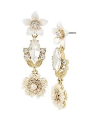 Miriam Haskell Vintage Pearl White Flower Crystal And Faux Pearl Drop Earrings