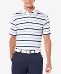 Callaway Men's Golf Performance Heather Striped Golf Polo White Blue