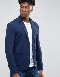 Jack And Jones Premium Slim Blazer In Jersey Navy