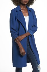 Leith Soft Open Trench Coat Blue Estate
