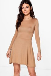Boohoo Harriet Basic Long Sleeve Skater Dress Camel