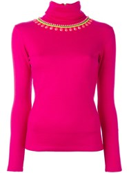 Manish Arora Turtleneck Embellished Pullover Pink Purple