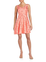 Taylor Eyelet Fit And Flare Dress Coral