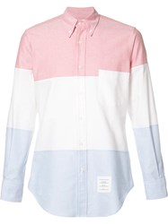 Thom Browne Colour Block Point Collar Shirt Red
