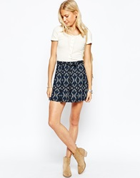 Abercrombie And Fitch Pleated Skater Skirt Navy