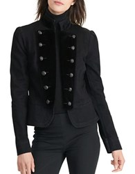 Lauren Ralph Lauren Peplum Denim Military Jacket Black