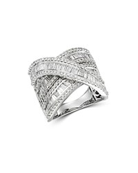 Bloomingdale's Diamond Baguette And Round Statement Crossover Ring In 14K White Gold 3.0 Ct. T.W.