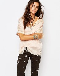 Native Rose Lace Detail Kimono With Back Embroidery Detail Flamingo Nud Stone