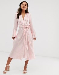 Ghost Annabelle Satin Button Front Midi Dress In Daisy Print Pink