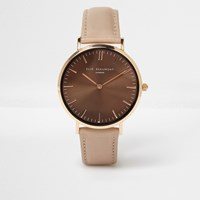 River Island Brown Elie Beaumont Leather Strap Watch