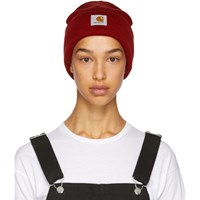 Carhartt Work In Progress Red Logo Beanie
