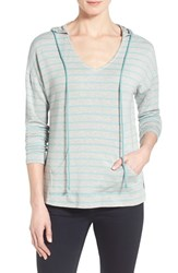 Women's Gibson Stripe V Neck High Low Hoodie Grey Water