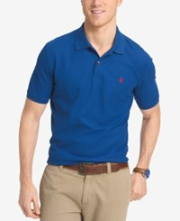 Izod Men's Pique Performance Heathered Polo Medium Blue