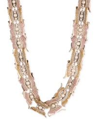 Givenchy Gold Tone Imitation Pearl Butterfly Collar Necklace Silk White